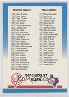Checklist 96-192 (Yankees, Rangers, Tigers, Phillies)