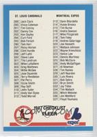 Checklist 289-384 (Cardinals, Expos, Brewers, Royals)