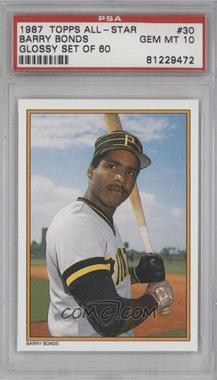 1987 Topps All-Star Set Collector's Edition #30 - Barry Bonds [PSA 10]
