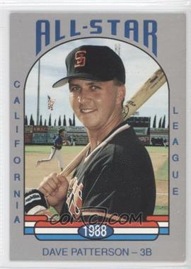 1988 Cal League California League All-Stars #1 - Dave Patterson