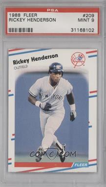 1988 Fleer #209 - Rickey Henderson [PSA9]