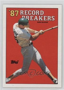 1988 Topps #3.1 - '87 Record Breakers - Mark McGwire (Area of white behind left heel)