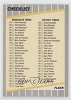 Checklist (Reds, Brewers, Twins, Tigers)