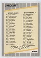 Checklist (Braves, Orioles, Special Cards)