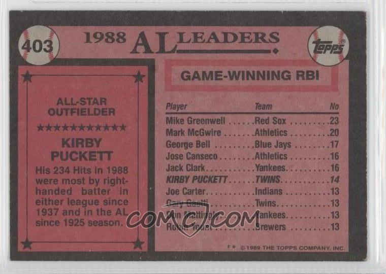 1989 topps 403 kirby puckett comc card marketplace