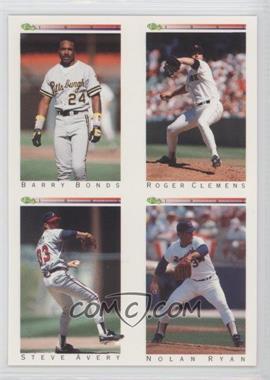 1992 Classic Update White Travel Edition #TNoN - Barry Bonds, Steve Avery, Nolan Ryan, Roger Clemens