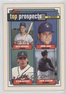 1992 Topps #126 - Rico Brogna, John Jaha, Ryan Klesko, Dave Staton