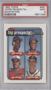 1992 Topps #551 - Manny Alexander, Alex Arias, Wil Cordero, Chipper Jones [PSA9]
