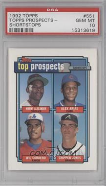 1992 Topps #551 - Manny Alexander, Alex Arias, Wil Cordero, Chipper Jones [PSA10]