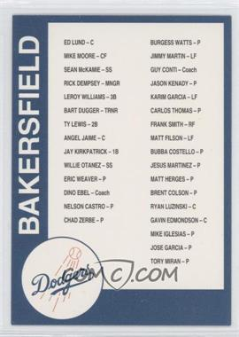 1993 Cal League Bakersfield Dodgers #N/A - Bakersfield Dodgers Checklist