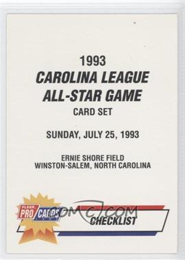 1993 Fleer ProCards Carolina League All-Star Game #CAR-52 - Checklist