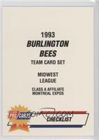 Burlington Bees Checklist