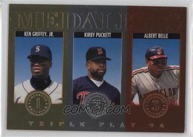 1994 Donruss Triple Play - Medalists #11 - Kirby Puckett, Albert Belle, Ken Griffey Jr.