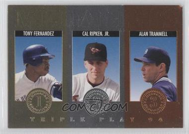 1994 Donruss Triple Play - Medalists #7 - Tony Fernandez, Cal Ripken Jr., Alan Trammell