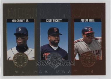 1994 Donruss Triple Play Medalists #11 - Kirby Puckett, Albert Belle, Ken Griffey Jr.