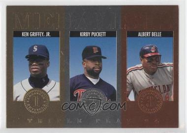 1994 Donruss Triple Play Medalists #11 - Kirby Puckett, Albert Belle, Ken Griffey Jr.
