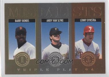 1994 Donruss Triple Play Medalists #12 - Barry Bonds, Andy Van Slyke, Lenny Dykstra