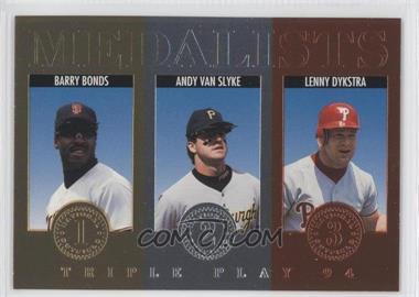 1994 Donruss Triple Play Medalists #12 - Barry Bonds, Andy Van Slyke, Lenny Dykstra
