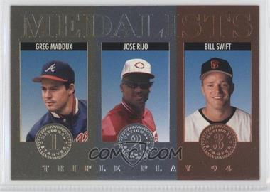 1994 Donruss Triple Play Medalists #14 - Greg Maddux, Jose Rijo, Bill Swift