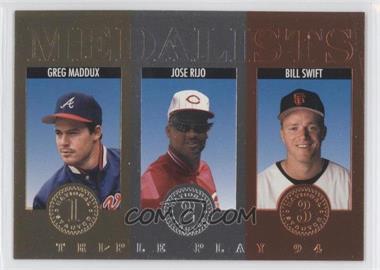1994 Donruss Triple Play Medalists #14 - Greg Maddux, Jose Rijo, Bill Swift