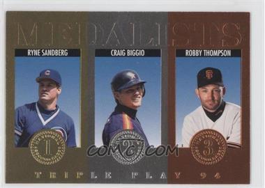 1994 Donruss Triple Play Medalists #6 - Ryne Sandberg, Craig Biggio, Robby Thompson