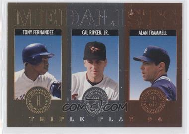 1994 Donruss Triple Play Medalists #7 - Tony Fernandez, Cal Ripken Jr., Alan Trammell