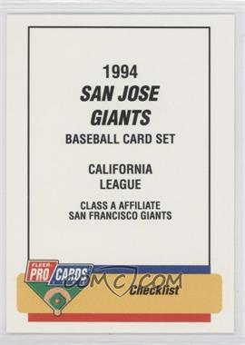 1994 Fleer ProCards Minor League #2836 - Checklist