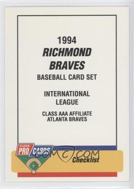 1994 Fleer ProCards Minor League #2866 - Checklist