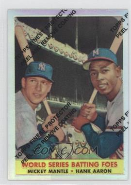 1997 Topps Mickey Mantle Reprints Finest Refractors #24 - Mickey Mantle, Hank Aaron (1958 Topps)