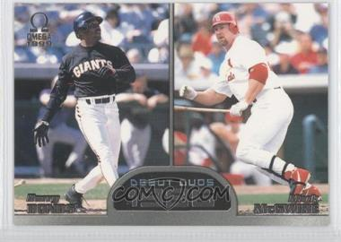 1999 Pacific Omega Debut Duos #9 - Barry Bonds, Mark McGwire