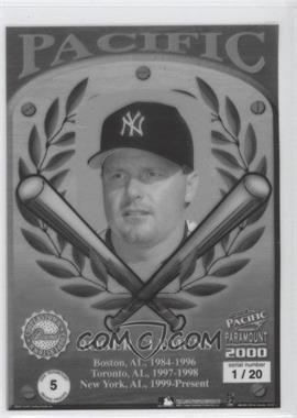 2000 Pacific Paramount Pacific Proofs #5 - Roger Clemens /20