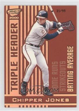 2000 Pacific Revolution Triple Header Hologold #1 - Chipper Jones /99