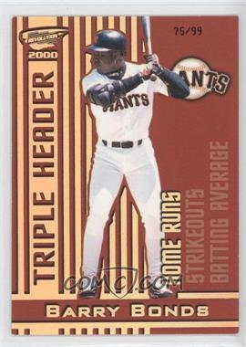 2000 Pacific Revolution Triple Header Hologold #17 - Barry Bonds /99