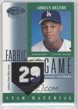 2001 Leaf Certified Materials Fabric of the Game #FG-104 - Adrian Beltre /29