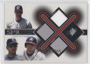 2001 SPx Winning Materials Triple Jersey Combo #VRF - Omar Vizquel, Alex Rodriguez, Rafael Furcal