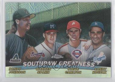 2001 Topps Chrome Combos Refractor #TC17 - Southpaw Greatness (Randy Johnson, Warren Spahn, Steve Carlton, Sandy Koufax)