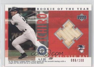 2001 Upper Deck Ichiro Suzuki Rookie of the Year Game-Used Bat #B-I1 - Ichiro Suzuki /100