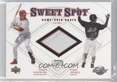 2001 Upper Deck Sweet Spot Game-Used Bases Level 1 #B1-MP - Mark McGwire, Timo Perez