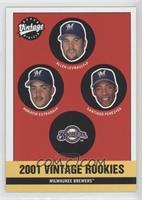 Brewers Rookies (Allen Levrault, Horacio Estrada, Santiago Perez)