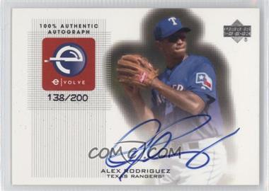2001 Upper Deck e-Volve Series 2 Signatures #eS-AR - Alex Rodriguez /200