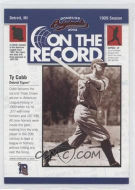 2002 Donruss Originals - On the Record #OR-1 - Ty Cobb /800