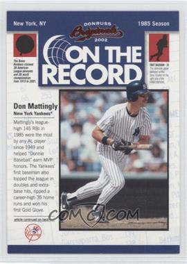 2002 Donruss Originals - On the Record #OR-10 - Don Mattingly /800