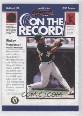 2002 Donruss Originals - On the Record #OR-11 - Rickey Henderson /800