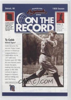 2002 Donruss Originals [???] #OR-1 - Ty Cobb /800