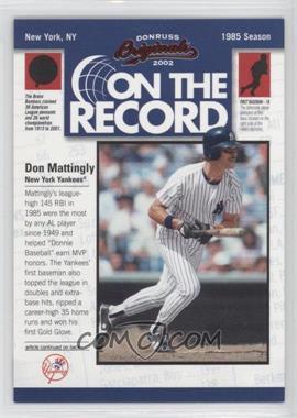 2002 Donruss Originals [???] #OR-10 - Don Mattingly /800