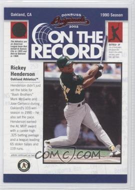 2002 Donruss Originals [???] #OR-11 - Rickey Henderson /800