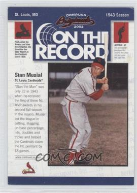 2002 Donruss Originals [???] #OR-12 - Stan Musial /800