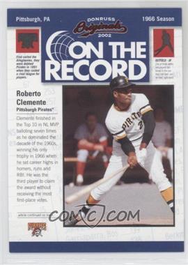2002 Donruss Originals [???] #OR-14 - Roberto Clemente /800