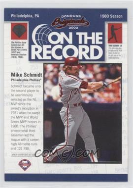2002 Donruss Originals [???] #OR-15 - Mike Schmidt /800
