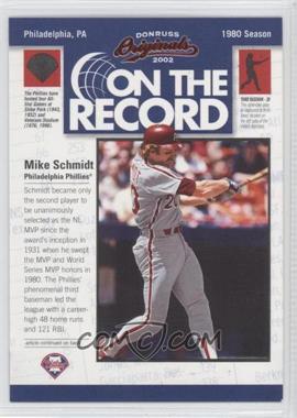 2002 Donruss Originals [???] #OR-15 - Mike Schmidt /800